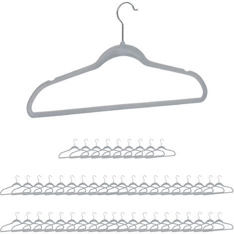 Relaxdays Clothes Hanger Set, Pants Rail, Dresses, Skirt, Velvet, Non-Slip, 360° Swivel, Pack of 50, Grey