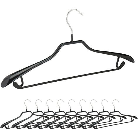 Relaxdays Clothes Hangers for Suits, Set of 10, Coat Hangers, Metal with Rubber, Non-slip, Compact, 45 cm, Black