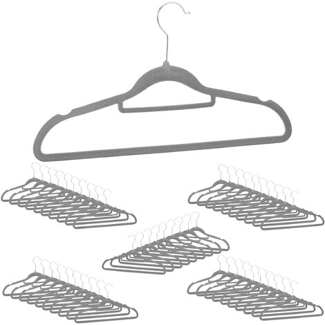 Relaxdays Clothes Hangers Set of 20, Narrow, Space-Saving Trouser Hangers, Velvet, Plastic, HWD: 22.5 x 41 x 0.6 cm, Grey, Pack of 50