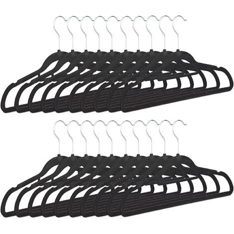 Relaxdays Clothes Hangers Set of 20, Narrow, Space-Saving Trouser Hangers, Velvet, Plastic, HWD: 22.5 x 41.5 x 0.6, Black