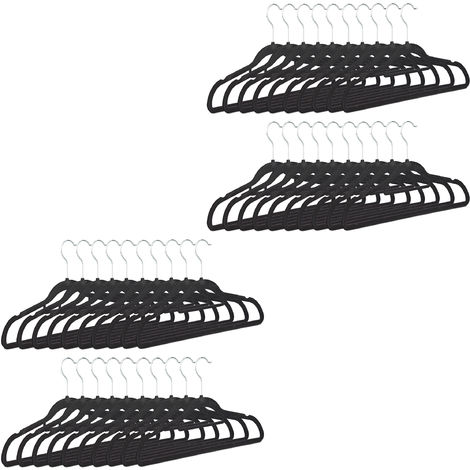 Relaxdays Clothes Hangers Set of 40, Narrow, Space-Saving Trouser Hangers, Velvet, Plastic, HWD: 22.5 x 41.5 x 0.6, Black