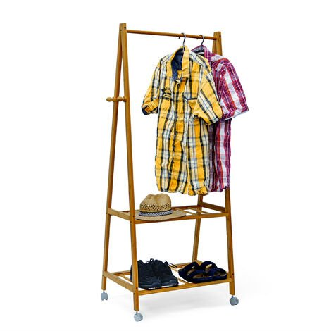 Relaxdays Clothes Rack with Wheels Bamboo 154 x 73.5 x 45 cm, Wardrobe Clothes Rail Rack Coat Stand Clothing Hanger