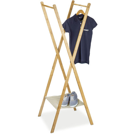 Relaxdays Clothes Stand made of Bamboo, Size: 155.5 x 50 x 57.5 cm Wardrobe Coat Hanger w/ Practical Shoe Rack Shoe Shelf Space-Saving for Garments Laundry Clothing with 2 Wooden Rails, Natural Brown