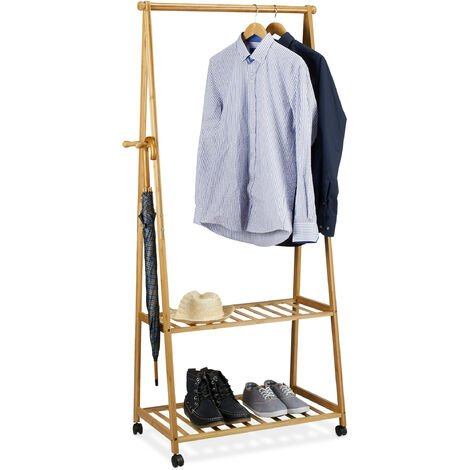 Relaxdays Clothes Stand on Wheels, Bamboo, 2 Shoe Shelves, Garment Rail, HxWxD: 166 x 84 x 45 cm, Mobile Wardrobe, Natural Brown