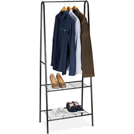 Relaxdays Clothes Stand SANDRA with 2 Shelves, Metal, Wardrobe Storage Unit, with Garment Rail, Size: 160 x 61.5 x 38 cm, Black