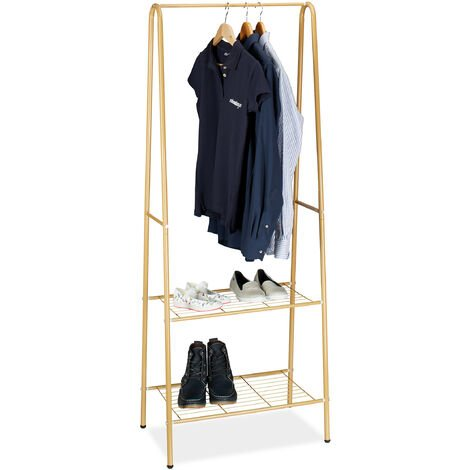 Relaxdays Clothes Stand SANDRA with 2 Shelves, Metal, Wardrobe Storage Unit, with Garment Rail, Size: 160 x 61.5 x 38 cm, Honey Brown