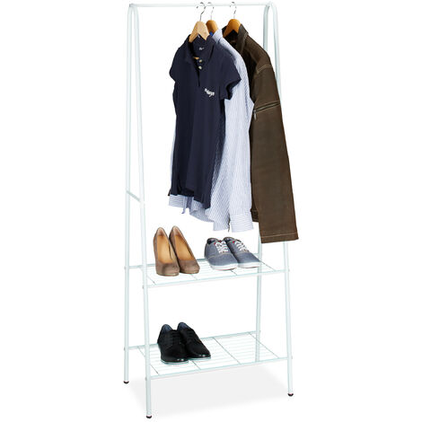 Relaxdays Clothes Stand SANDRA with 2 Shelves, Metal, Wardrobe Storage Unit, with Garment Rail, Size: 160 x 61.5 x 38 cm, White