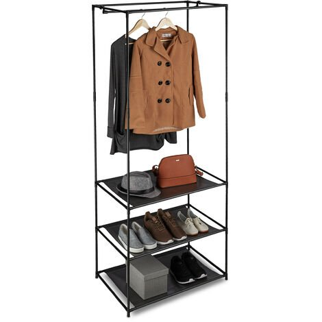 Relaxdays Clothes Stand, Shelves, Open & Foldable With Rail, Metal & Fabric Closet, 179.5x72x48 cm, Black