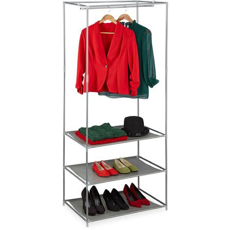 Relaxdays Clothes Stand Shelves, Open & Foldable With Rail, Metal & Fabric Closet, 179.5x72x48 cm, Various Colours