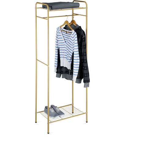 Relaxdays Clothes Stand with Shelves, SANDRA, Metal, Wardrobe Coat Rack with Clothes Rail, Shoe Rack for Boots, Size: 166 x 60.5 x 38 cm, Honey Brown