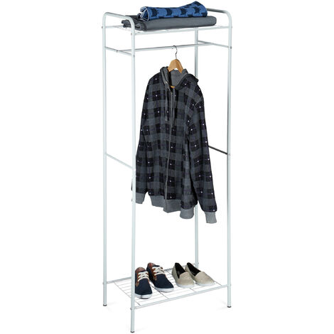 Relaxdays Clothes Stand with Shelves, SANDRA, Metal, Wardrobe Coat Rack with Clothes Rail, Shoe Rack for Boots, Size: 166 x 60.5 x 38 cm, Off-White