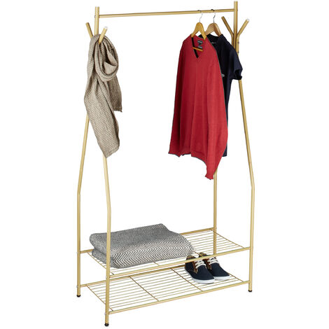 Relaxdays Clothes Stand with Shoe Rack SANDRA, Metal, Wide, Wardrobe Storage Unit with Garment Rail, 2 Shelves also for Boots, Size: 162 x 90 x 40 cm, Honey Brown