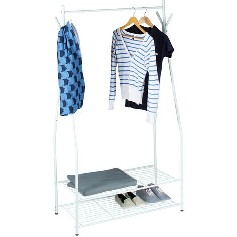 Relaxdays Clothes Stand with Shoe Rack SANDRA, Metal, Wide, Wardrobe Storage Unit with Garment Rail, 2 Shelves also for Boots, Size: 162 x 90 x 40 cm, Off-White