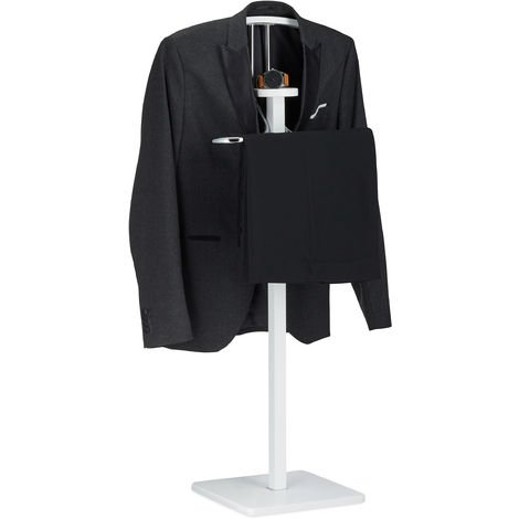 Relaxdays Clothes Valet with Trouser Rail and Coat Hanger, Freestanding, Butler, HxWxD 109.5 x 47 x 30 cm, White