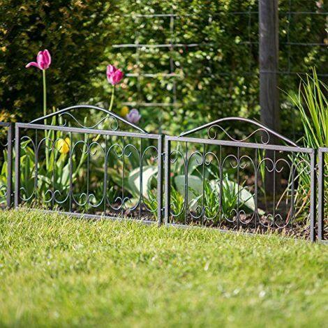 Relaxdays Clôture décorative de jardin en métal lot de 4 panneaux extérieurs 33,5 x 56,5 cm, noir