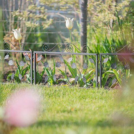Relaxdays Clôture décorative de jardin en métal panneau extérieur 33,5 x 56,5 cm, noir