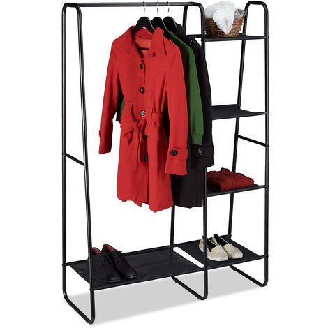 Relaxdays Coat Rack, 5 Shelves, Clothes Rail, Open Wardrobe for Hallway or Bedroom, HxWxD 150x100x40 cm, Black