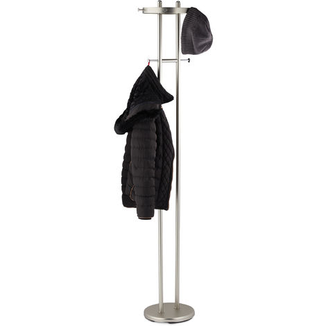 Relaxdays Coat Rack, Matt Chromed Steel, Round Base, Wardrobe Stand with 8 Hooks, Hallway, HWD: 183x37x34 cm, Silver