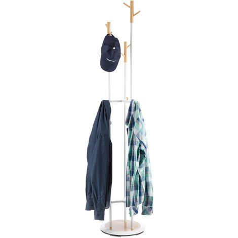 Relaxdays Coat Rack, Metal & Wood Hallway Clothes Stand, 9 Hooks, Wardrobe Stand HxD 178 x 36.5 cm, White