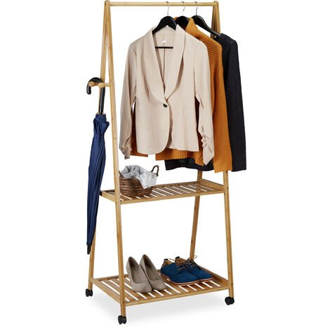 Relaxdays Coat Rack on Casters, 2 Shelves, 4 Hooks, Compact, Bamboo Rolling Wardrobe Stand, 154.5x75.5x45 cm, Natural