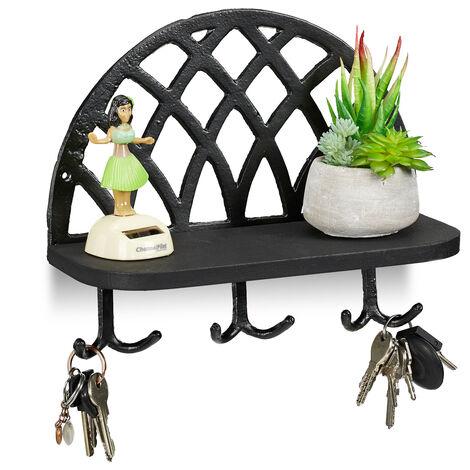 Relaxdays Coat Rack, Shelf & Hooks, Vintage Key Storage, Cast Iron, Wood, HWD: 23x27x12 cm, Black