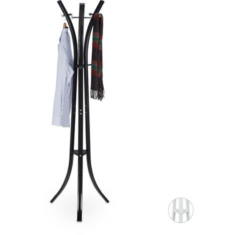 "Relaxdays Coat Rack ""Style"", Sturdy Metal Standing Garment Rack for Jackets & Coats, 175 cm, Black"