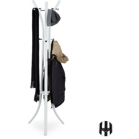 """Relaxdays Coat Rack """"Style"""", Sturdy Metal Standing Garment Rack for Jackets & Coats, 175 cm, White"""