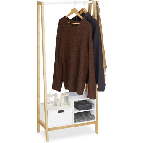 Relaxdays Coat Rack with Shelf, Drawer and Coat Rail, Bamboo & MDF, HxWxD: 139.5 x 64.5 x 31 cm, Natural-White