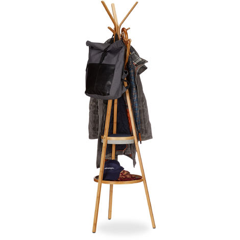 Relaxdays Coat Rack with Tray, Bamboo Clothes Stand with 6 Hooks, Valet H x W x D: 171 x 50 x 50 cm, Natural