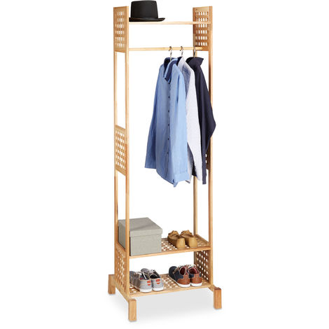 Relaxdays Coat Stand, Freestanding Rack, Hallway Wardrobe, Walnut Wood, HWD: 190 x 60 x 50 cm, Natural