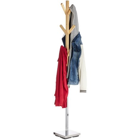 Relaxdays Coat Stand, Freestanding Rack, Metal & Wood, Hallway Wardrobe with 6 Hooks, HWD 180 x 26 x 26 cm, Natural/Silver