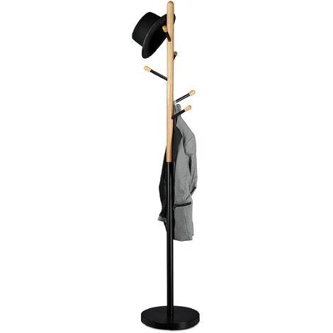 Relaxdays Coat Stand, Hat Rack, Hallway Wardrobe, Wood & Metal, HWD: 180 x 34 x 34 cm, Black