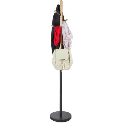 Relaxdays Coat Stand, Hat Rack, Hallway Wardrobe, Wood & Metal, HWD: 180 x 34 x 34 cm, Grey