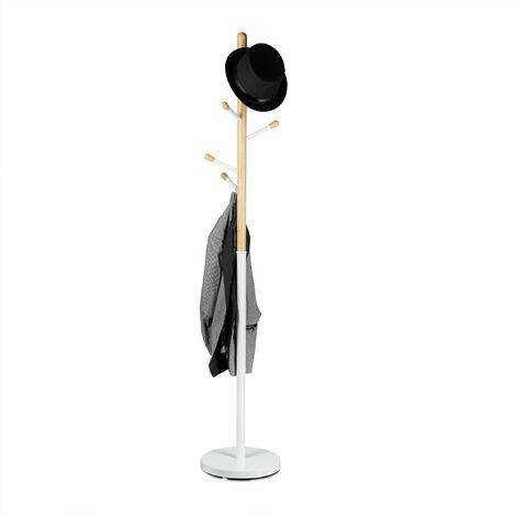 Relaxdays Coat Stand, Hat Rack, Hallway Wardrobe, Wood & Metal, HWD: 180 x 34 x 34 cm, White