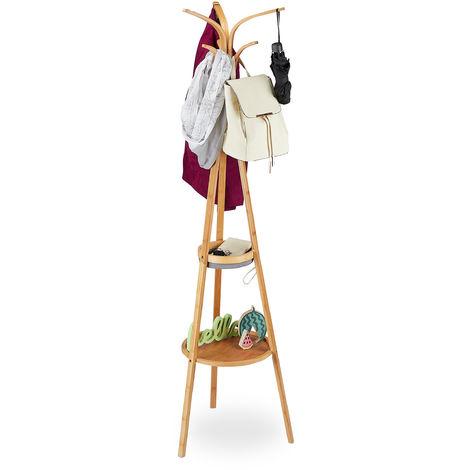 Relaxdays Coat Stand, Modern Bamboo Garment Rack, 2 Trays, 6 Hooks, Tree Design, 178 x 50 x 50 cm, Natural