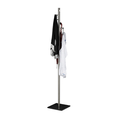 Relaxdays Coat Stand PIERRE, Freestanding Coat Rack, For Hallway Entryway, H W D 180 x 30 x 30 cm, Marble