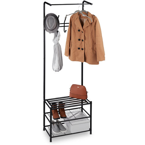 Relaxdays Coat Stand with Shoe Rack, Freestanding, Hallway Storage, Metal, H x W x D: 183 x 61 x 34 cm, Black