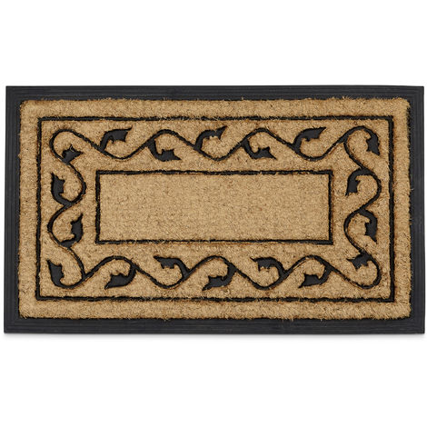 Relaxdays Coconut Fiber & PVC Rubber Doormat Anti-Slip Welcome Mat for Indoor & Outdoor Use w/ Floral Pattern made of Sustainable Coir Floor Mat 2 x 75 x 45 cm, Natural Brown