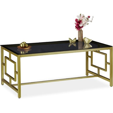 Relaxdays Coffee Table, Black Glass Top, Robust Metal Frame, Living Room Stand, HxWxD 45 x 110 x 60 cm, Black-Gold