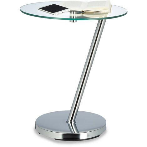 Relaxdays Coffee Table Glas and Chrome, Round Side Table for Coffee Tea, End table Garden, H x W x D: 52 x 45 x 45 cm, Silver