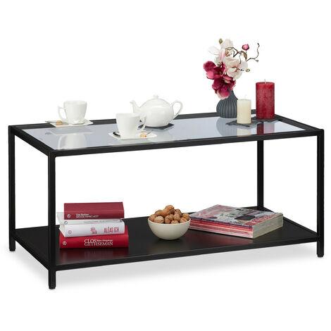 Relaxdays Coffee Table, Glass Top & Metal Frame, MDF Shelf, Modern Living Room Table, HWD 45x100x50 cm, Black