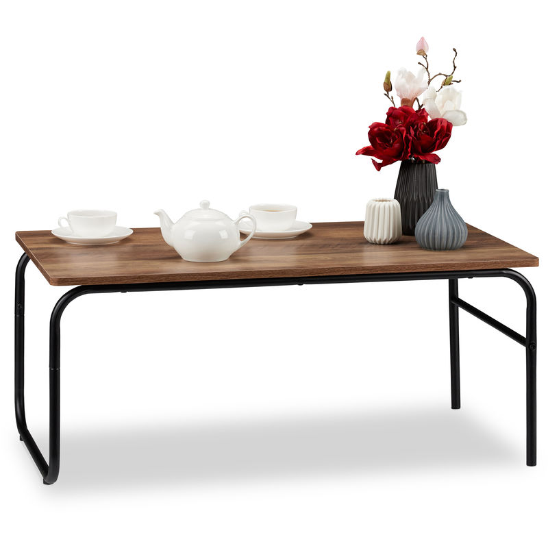 Relaxdays Coffee Table Industrial Design Rectangular Low Mixed