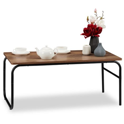 Relaxdays Coffee Table, Industrial Design, Rectangular, Low, Mixed Materials, Wood Look, Side Stand, Brown/Black