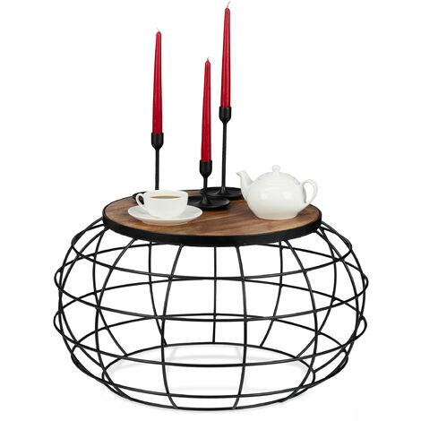 Relaxdays Coffee Table, Mango Wood & Iron, Round, Low, Living Room, Industrial Basket Stand, 36x67cm, Black/Brown
