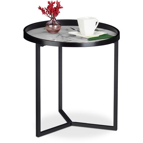 Relaxdays Coffee Table, Retro Design, Living Room Plant Stand, Round Marble Effect Top, H x D: 50 x 46 cm, Black-White