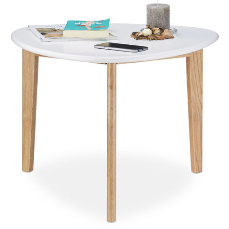 Relaxdays Coffee Table, Triangular, Oak Table Legs, White Table Top, Modern Retro Design, 50's Style, White / Natural Brown
