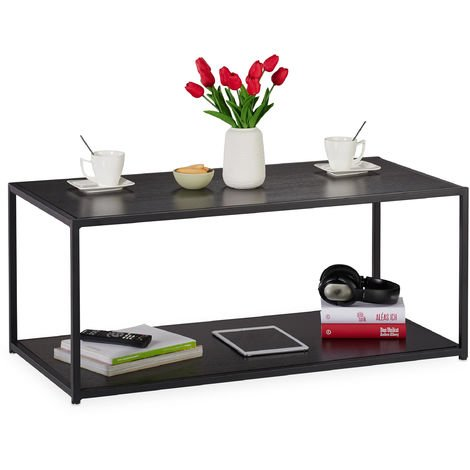 Relaxdays Coffee Table with Shelf, Rectangular, Couch Side Table, Metal Frame, Living Room HWD 42x100x50 cm, Black