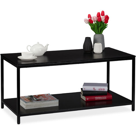 Relaxdays Coffee Table with Shelf, Rectangular, Couch Side Table, Metal Frame, Living Room HWD 46x100x50.5 cm, Black