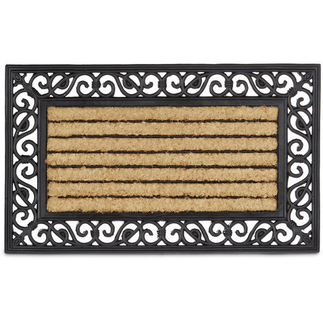 Relaxdays Coir and Rubber Doormat with Stripe and Floral Pattern, Large Weather-Proof Welcome Mat Striped Floor Mat with Anti-Slip Underside for Outdoor Use, Cast-Iron Look, Brown & Black