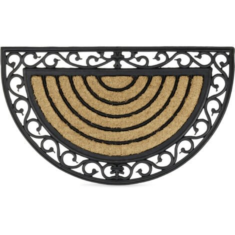 Relaxdays Coir Doormat Semi-Circle Rubber Floor Mat with Stripes and Floral Pattern, Weather-Proof Welcome Mat Anti-Slip for all Floor Types with Cast Iron-Look, Brown / Black